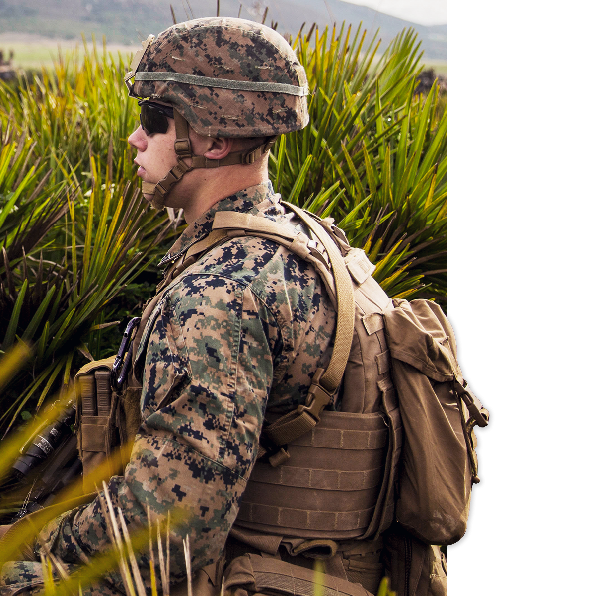 A photo of a marine in combat fatigues.